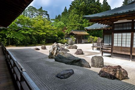 Rock garden in a Buddhist temple in Koya-san, Japan. photo