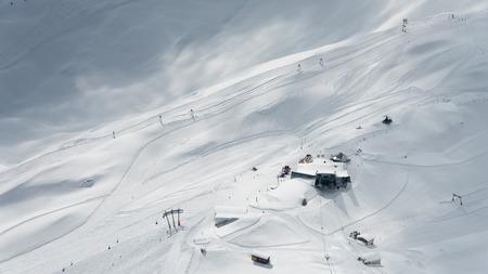 zugspitze mountain: Gondola station on Zugspitze mountain Stock Photo