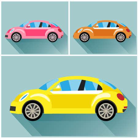 escarabajo: flet ilustraci�n veh�culo volkswagen escarabajo estilo Vectores