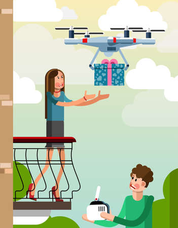 delivers: The guy using the drone delivers the gift to the girl on the balcony. Illustration in a flat style