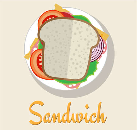 sandwitch: Sandwich on a plate in a flat style