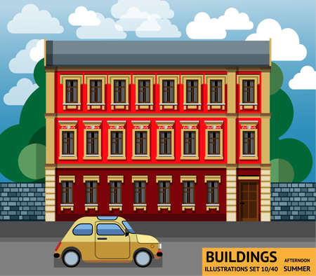 yellow car: The building with a yellow car in a flat style Illustration