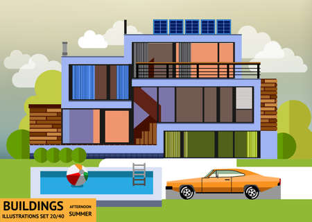 swimming pool home: Building with a swimming pool and a orange car in a flat style