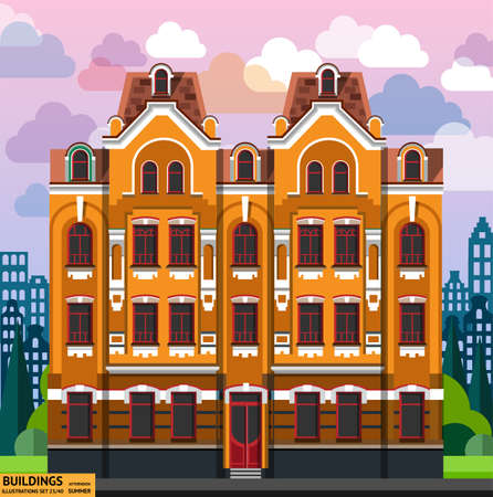 style: Building in flat style