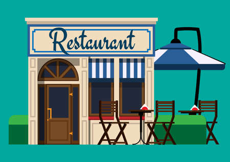 outdoor dining: The facade of the restaurant in a flat style