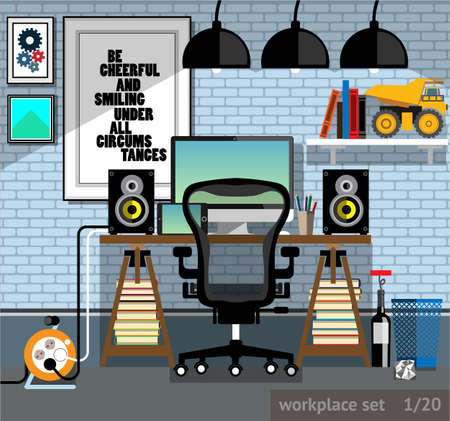 speakers desk: Vector illustration of a workplace of the programmer in a flat style