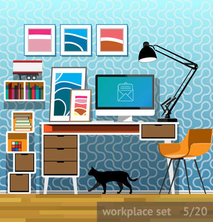 the writer: Vector illustration of home workplace writer in a flat style
