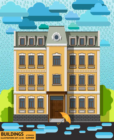 puddles: The building in the rain with the umbrella and the puddles in the foreground in a flat style Illustration