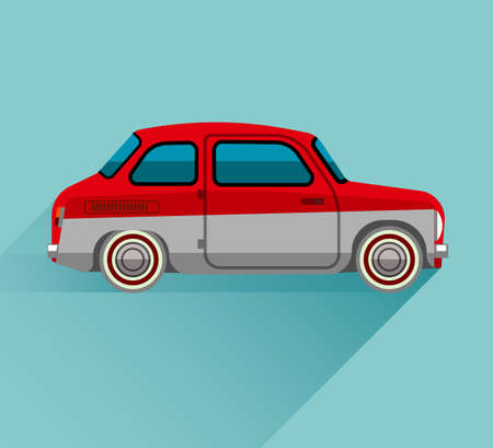hackney carriage: Car Flat style on blue background