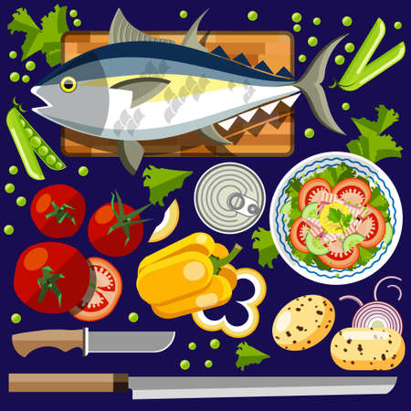 illustration for advertising: Salad with salmon. Vector illustration of a flat design. Illustration for online stores. Illustration for the booklet. Illustration for flyers. Illustration for presentations. Illustration for advertising. Illustration