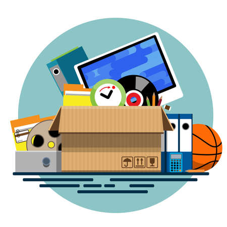 old items: Illustration of a cardboard box with old things in a flat style. Box with old stuff vector. Monitor, clock, files, folder, a drum with a film, a music plate, a calculator, pencils, a basketball. Vector illustration Eps10 file.