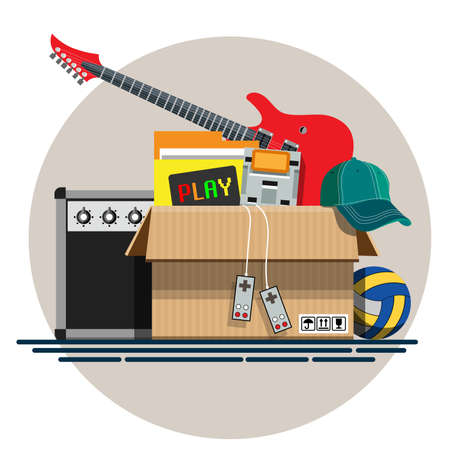 discarded: Illustration of a cardboard box with old things in a flat style. Box with old stuff vector. Guitar, cap, game console, volleyball. Vector illustration Eps10 file.