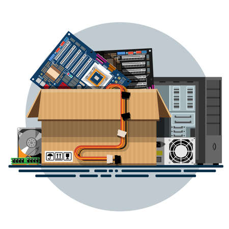 donation drive: Illustration of a cardboard box with old things in a flat style. Box with old stuff vector. Computer hardware, motherboard, power supply, hard drive, RAM, computer case. Vector illustration Eps10 file. Illustration