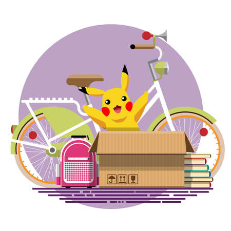 Illustration of a cardboard box with old things in a flat style. Box with old stuff vector. Bicycle, backpack, books, soft toy. Vector illustration Eps10 file.