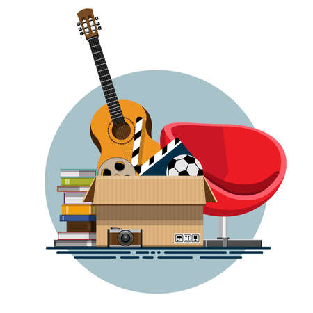 unnecessary: Illustration of a cardboard box with old things in a flat style. Box with old stuff vector. Guitar, armchair, photo albums, photo camera, a drum with a film, a football. Vector illustration Eps10 file