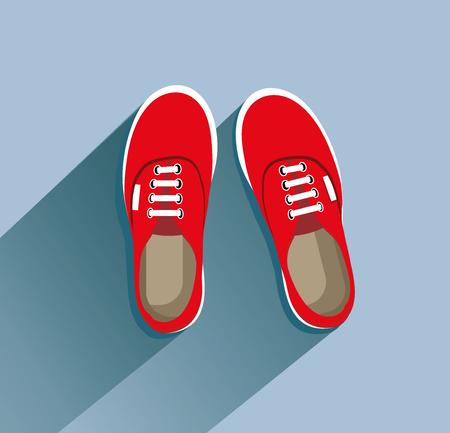 Scarpe da tennis rosse nell'illustrazione di vettore di stile piano.