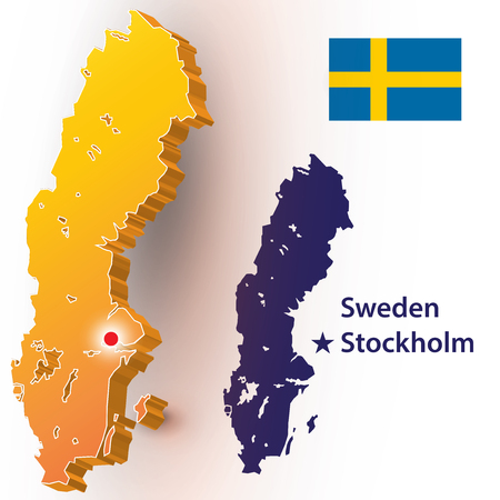 Map of Sweden. Vector silhouette of the Swedish flag.