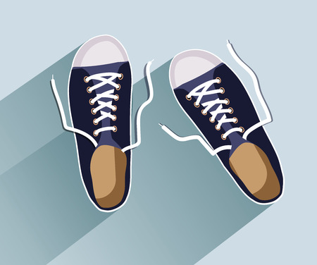 Sneakers. Sneakers in flat style. Sneakers top view. Fashion sneakers. Fashion sneakers black. Vector illustration Eps10 file.