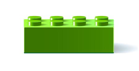 Groen pictogram Lego. 3D Lego. Constructor. Bouwsteen speelgoed. Groen bouwsteenstuk speelgoed met schaduw. Geïsoleerd op witte achtergrond Vector illustratie Eps10-bestand. Vector Illustratie