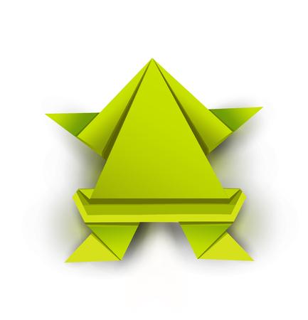 Origami. Origami frog. Green origami frog. Green paper origami frog. Vector illustration Eps10 file.