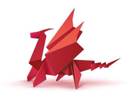 Origami. Smok origami. Czerwony smok origami. Ilustracja postać origami czerwonego smoka. Latający smok w formie origami. Plik EPS10 ilustracji wektorowych Ilustracje wektorowe