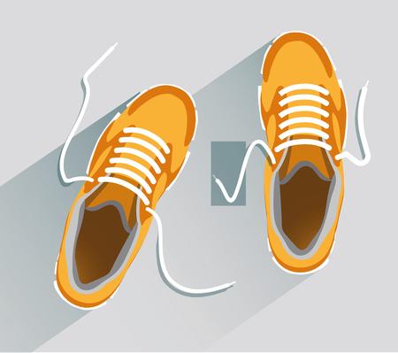 Zapatos. Zapatos de estilo plano. Vista superior de zapatos. Zapatos de moda. Zapatos de moda naranja. Archivo de vector ilustración Eps10 Foto de archivo - 95895682