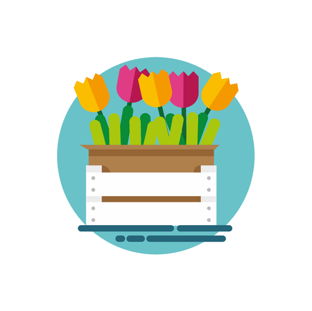 Box with flowers. Tulips in a box. Illustration of a box with flowers in a flat style. Vector illustration Eps10 file