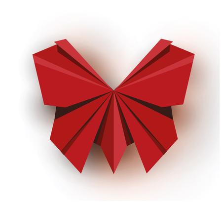 Origami. Origami butterfly. Red origami butterfly. Red paper origami butterfly. Paper butterfly. Vector illustration Eps10 file