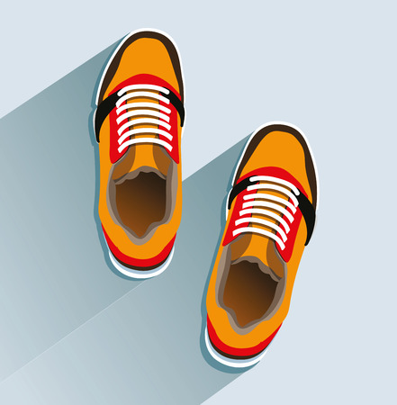 Sneakers in flat style, top view and for Fashion sneakers.