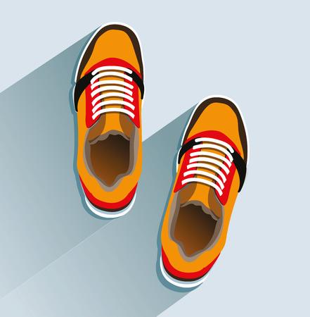 Zapatillas de deporte de estilo plano, vista superior y zapatillas de moda. Foto de archivo - 96662574