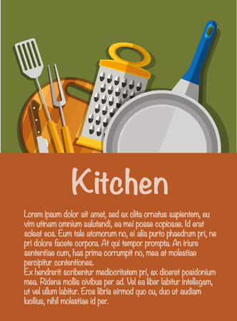 Kitchen tools. The concept of kitchen tools with Knife, kitchen fork, kitchen spatula, a cutting Board, grater, frying pan.
