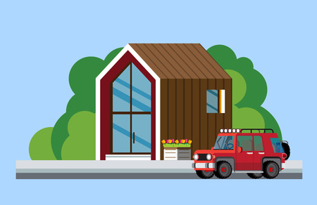 Modern house along the road, Parked car near the modern house. Flat style Vector illustration