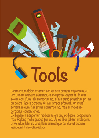 Tool set repair and construction. Hammer, wrench, pliers, cutter, level tool, spatula, saw, brush, headphones for repair.