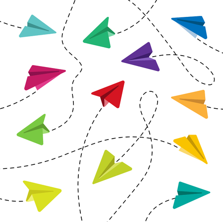 Colorful Paper airplanes with dashed lines on a white background. Vector illustration