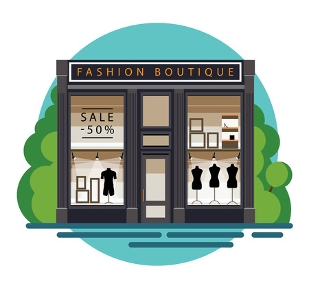 Boutique. Boutique facade. Fashion boutique. Illustration of a fashion boutique in a flat style. Beautiful fashion boutique with clothes in the shop window. Boutique showscase with dummy. Vector illustration file Foto de archivo - 98009716