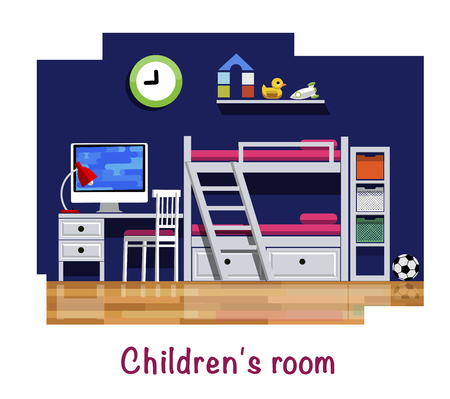 Childrens room. Childrens room interior. Bunk bed, table, chair, computer, table lamp, wall clock, shelf, toy, soccer ball. Flat style. Flat design.