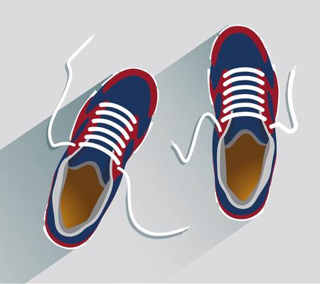Sneakers. Sneakers in flat style. Sneakers top view. Fashion sneakers. Fashion sneakers blue. Vector illustration Eps10 file 矢量图像