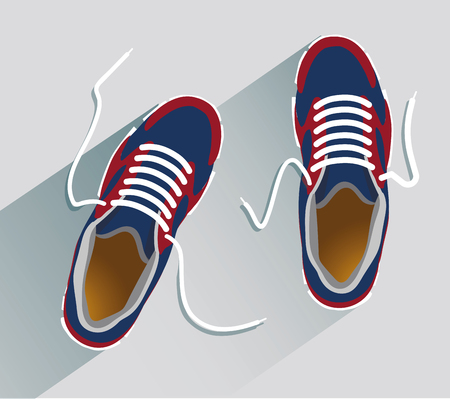 Sneakers. Sneakers in flat style. Sneakers top view. Fashion sneakers. Fashion sneakers blue. Vector illustration Eps10 file Vectores