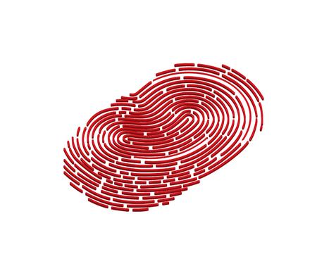 Mobile application for fingerprint recognition in 3d. Vector illustration Eps10 file. Illustration