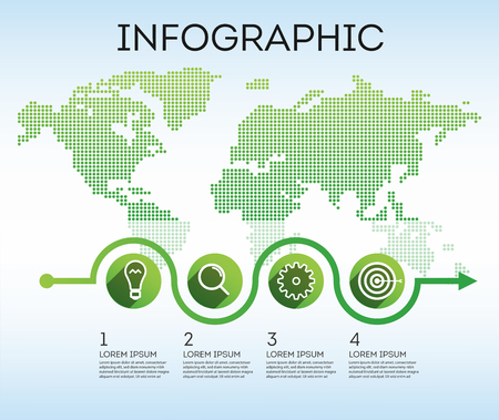 Business infographics. Infographics for marketing. Infographics product testing before global launch. Vector map of the world with elements of infographics. Modern world map with graphic design. International map of the world. Vector illustration Eps10 file