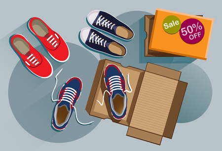 Discount on sneakers for sale with top view. Fashionable sneakers red, black, blue colors. Flat style design vector illustration file.