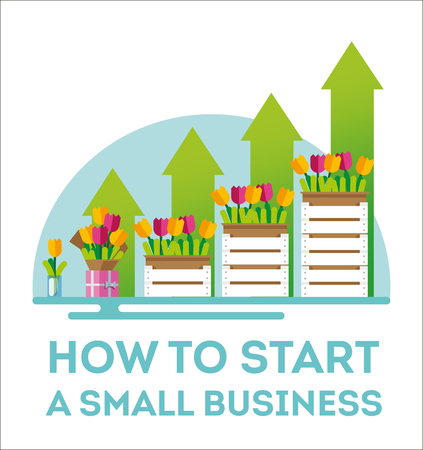 Infographic small business. The emergence of small business. Flowers as the birth of a small business. Illustration of how to start a small business. How to start a small business. Flat style. Vector illustration file