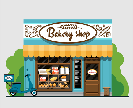Bakery shop. Bakery shop in flat style. The facade of a bakery shop. The facade of a bakery shop in flat style. Vector illustration Eps10 file