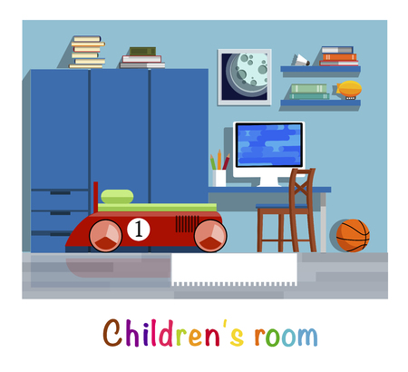Childrens room. Childrens room interior. Bed, wardrobe, table, chair, computer, shelf, picture, book, toy, basketball ball. Flat style. Flat design.