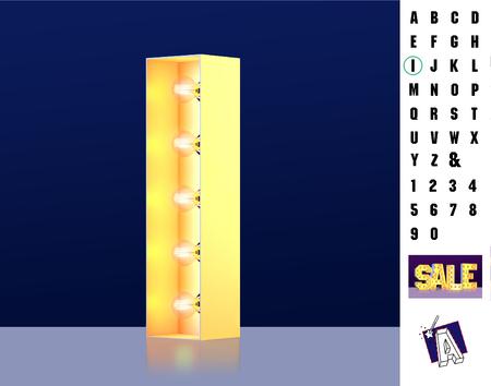 Letter I from alphabet. Glowing letter I. Bulb type I. 3d Illuminated light bulb symbol letter I. Retro alphabet. Lamp font. Letter of light bulbs. Retro sign lamp light font. 3d rendering