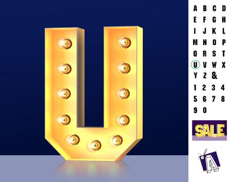 Letter U from alphabet. Glowing letter U. Bulb type U. 3d Illuminated light bulb symbol letter U. Retro alphabet. Lamp font. Letter of light bulbs. Retro sign lamp light font. 3d rendering Imagens