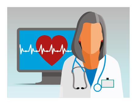 Dokter. Medisch werker. Gezondheidszorg. Arts met een hart. Online service voor arts en hartslag. Digitale gezondheidszorgtechnologie. Vlakke stijl. Plat ontwerp. Vector illustratie Eps10-bestand