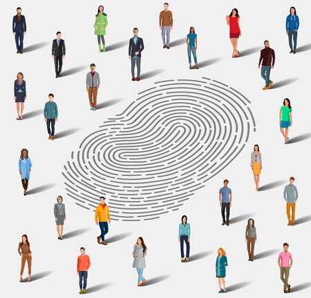 Identification by fingerprint. The search for a person by fingerprint. Identification among a large group of people by fingerprints. Flat style. Flat design. Vector illustration Eps10 file