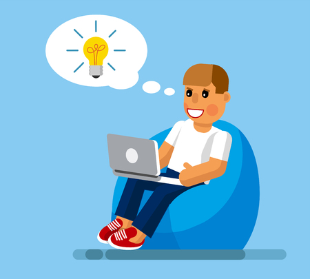 The designer came up with an idea. The designer is sitting in a chair with a laptop and he got the idea. The designer is sitting in a chair with a laptop and he got the idea in a flat style. Vector illustration Eps10 file
