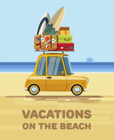 Vacations on the beach. Relax on the beach. Vacations on the beach with the car. Relax on the beach of the sea. Flat style. Flat design. Vector illustration Eps10 file